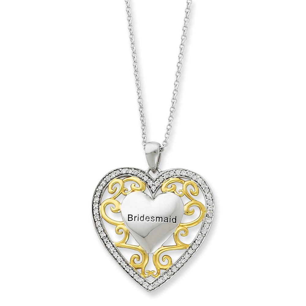 Rhodium & Gold Tone Plated Silver, CZ Bridesmaid Necklace, 18 Inch
