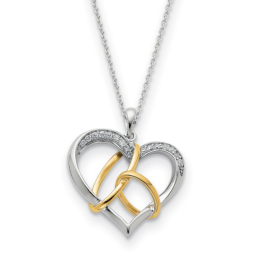 Rhodium & Gold Tone Plated Sterling & CZ To Have & To Hold Necklace