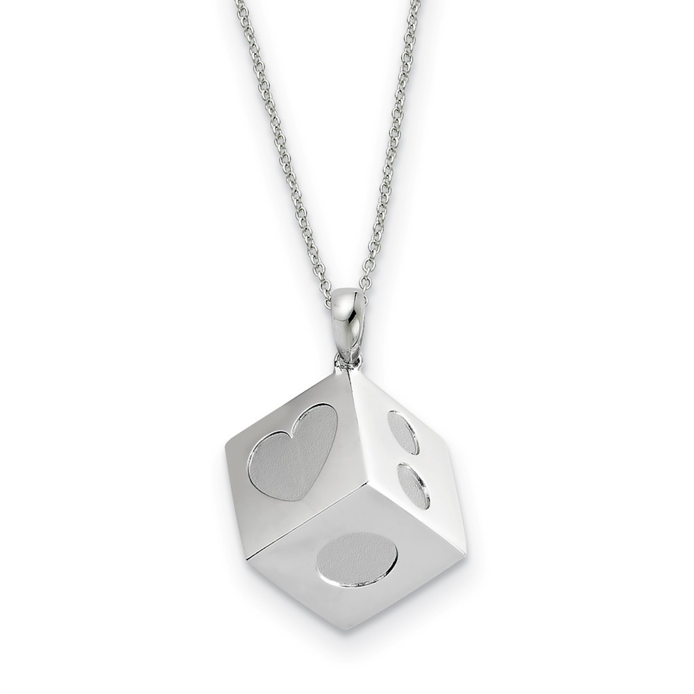 Rhodium Plated Sterling Silver Lucky As Can Be Necklace, 18 Inch