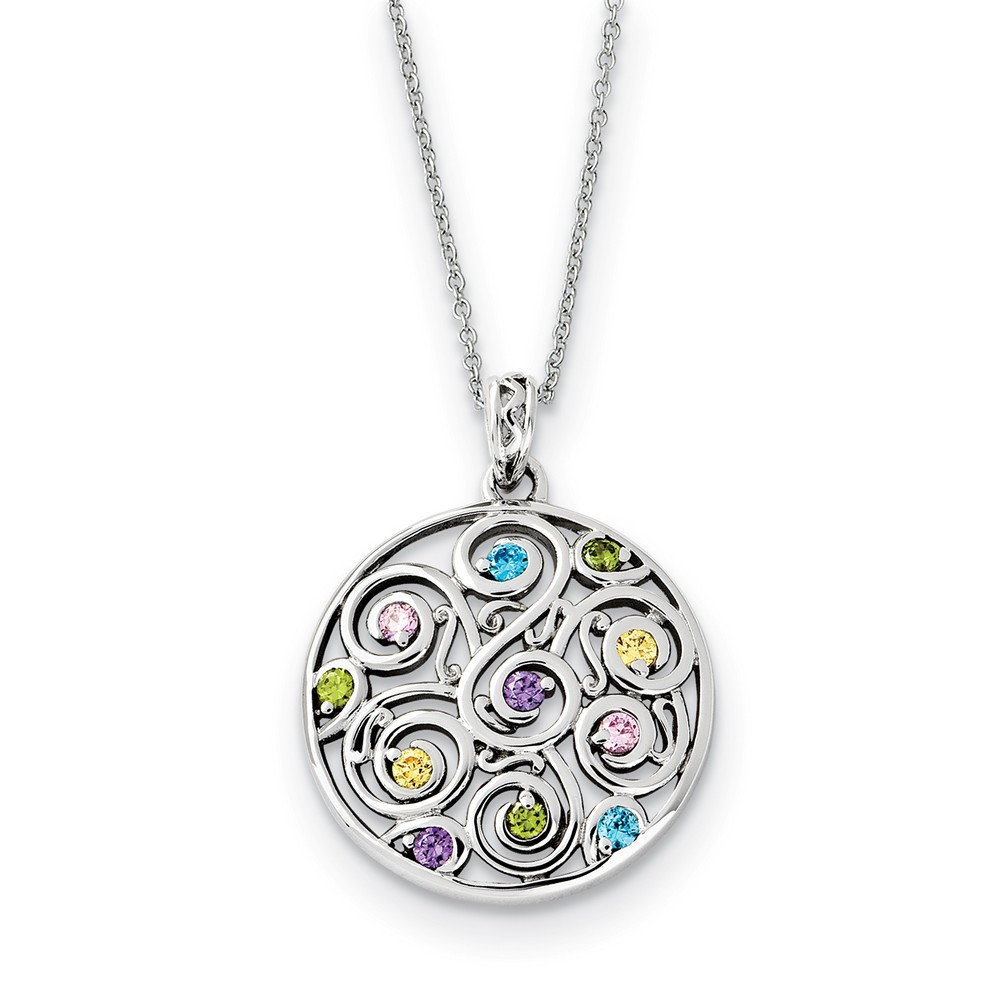 Rhodium Plated Sterling Silver & CZ Kaleidoscope of Wishes Necklace