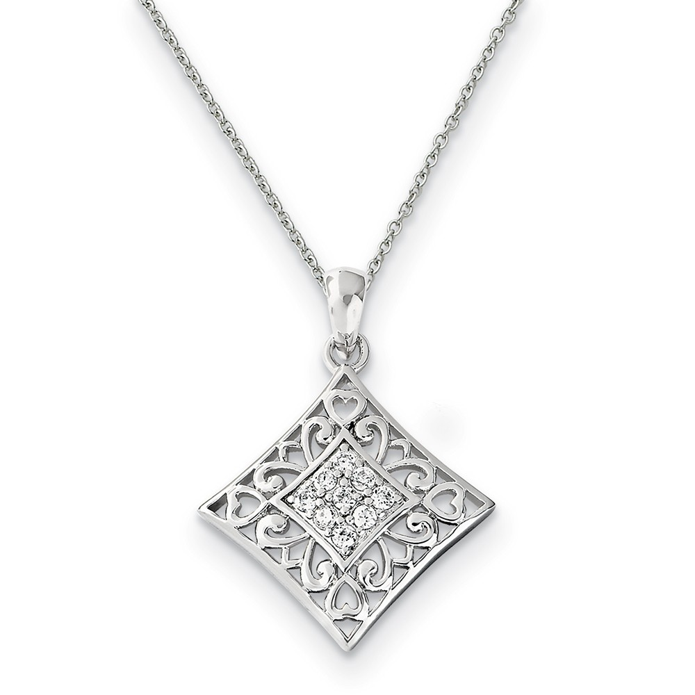 Rhodium Plated Sterling Silver & CZ I Love You All Year Long Necklace