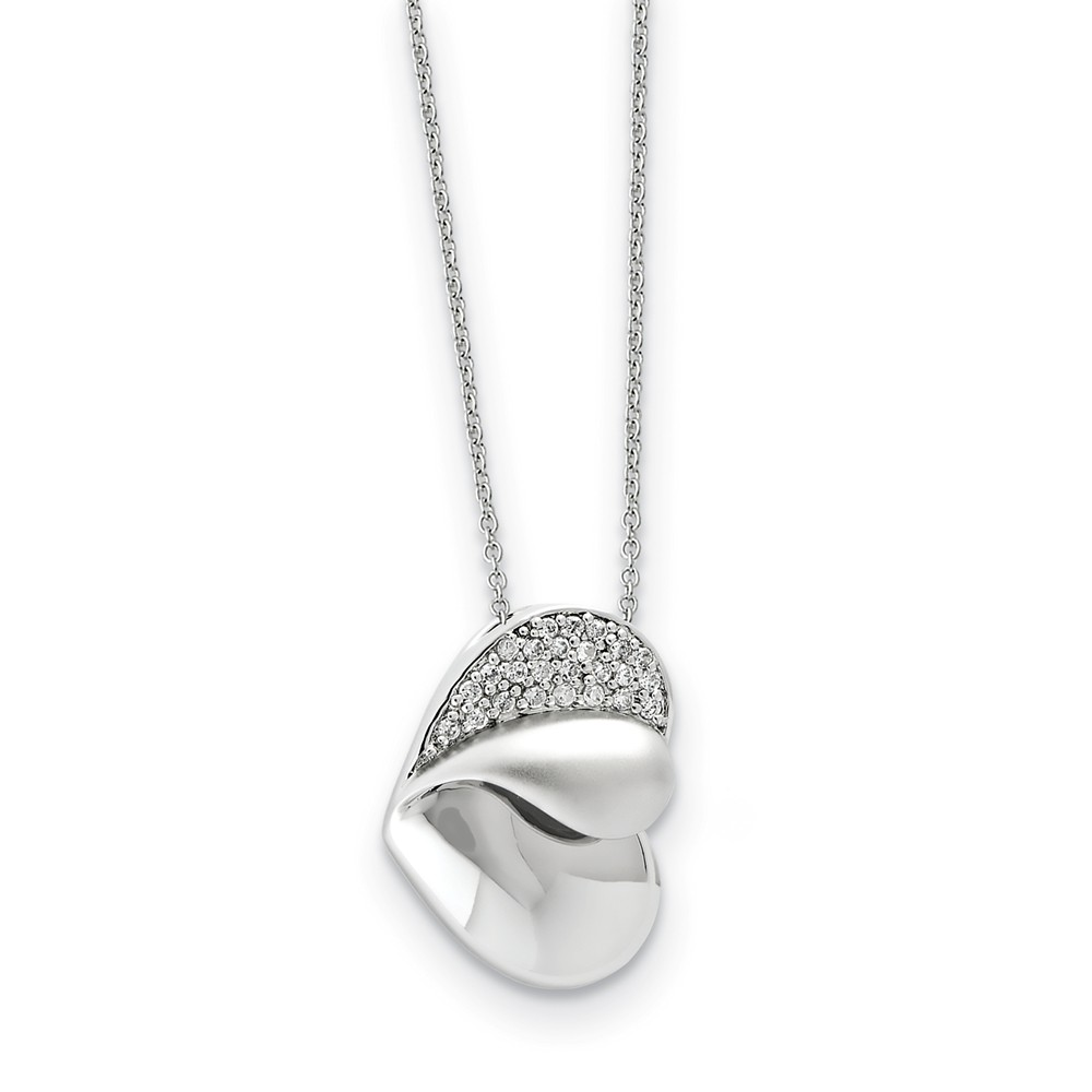 Rhodium Plated Sterling Silver & CZ Glimpse of My Heart Necklace, 18in