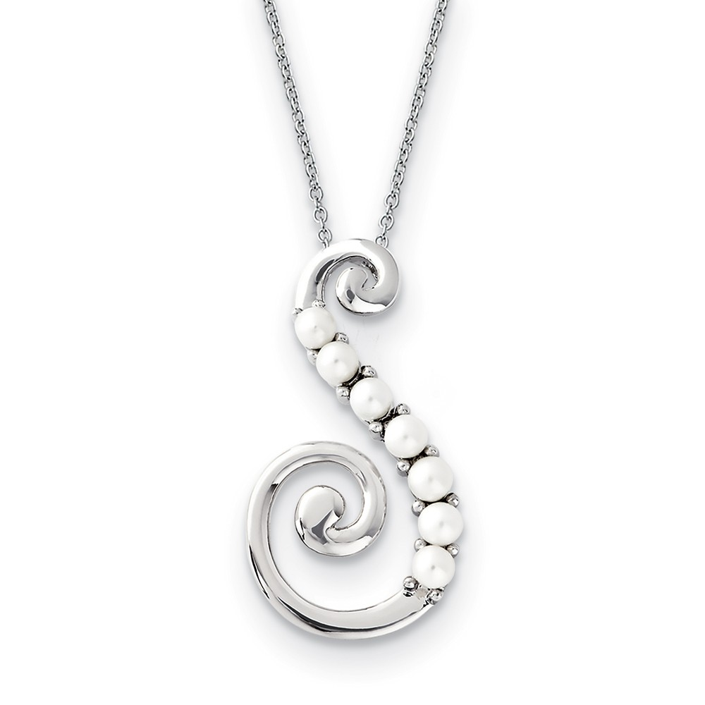 Reaching Out Sterling Silver and FW Cultured Pearl 18-Inch Necklace