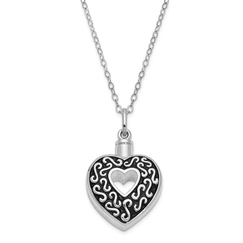 Necklace | Sterling | Rhodium | Antique | Holder | Silver | Plate | Heart