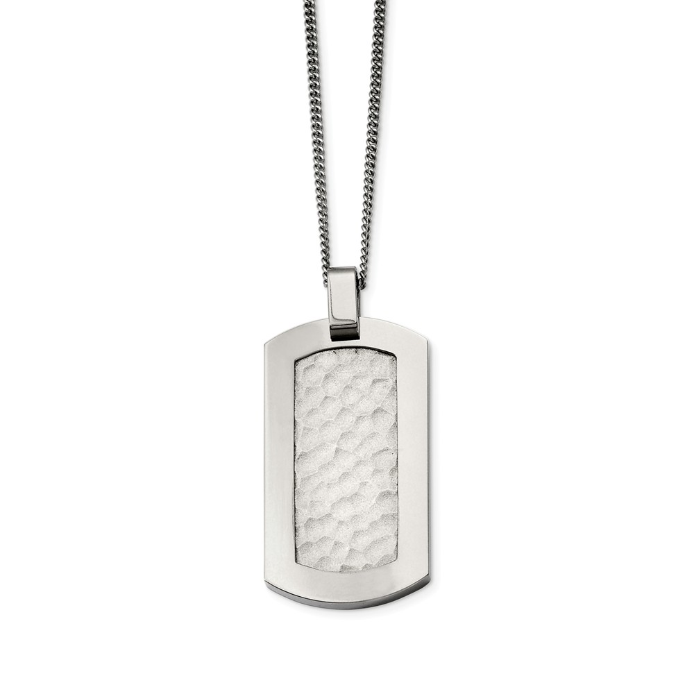 Titanium Hammered Dog Tag Necklace 22 Inch