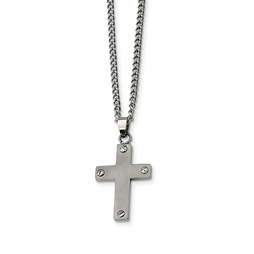 Titanium Brushed Cross Necklace 22 Inch