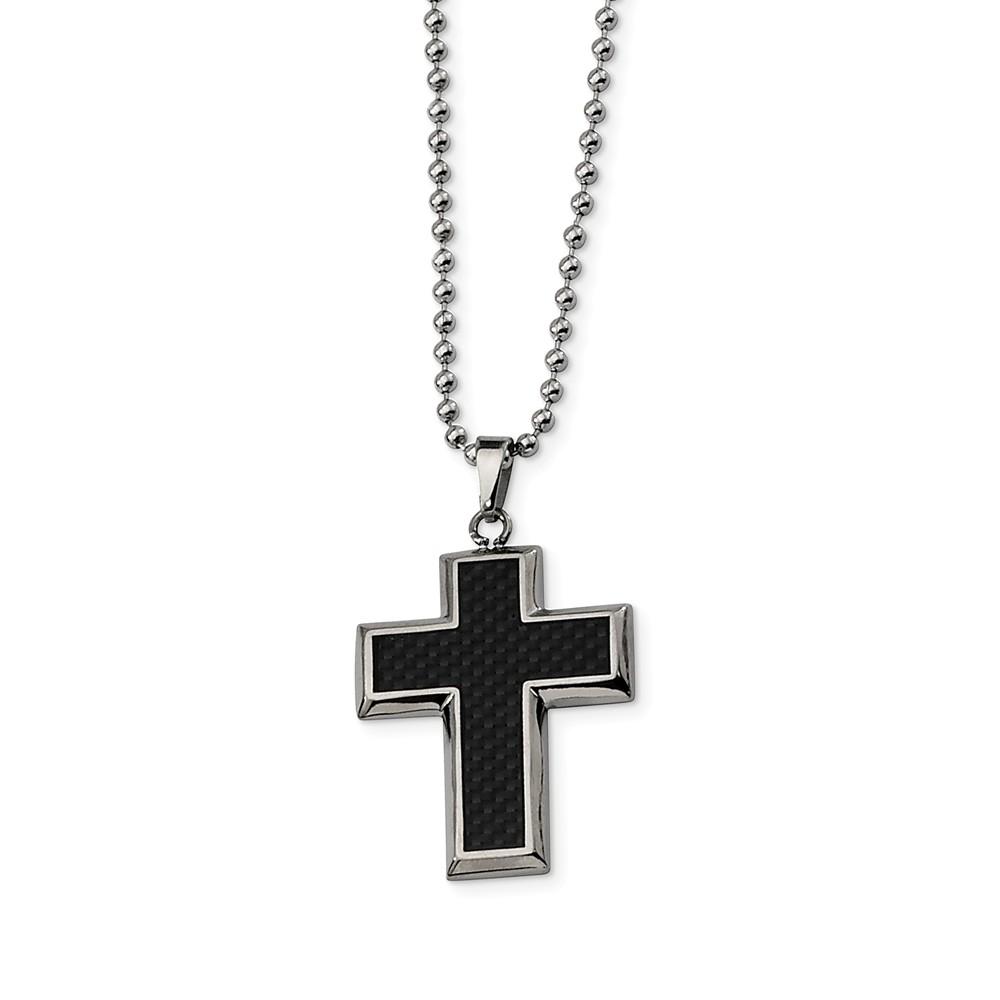 Titanium and Black Carbon Fiber Cross Necklace 22 Inch