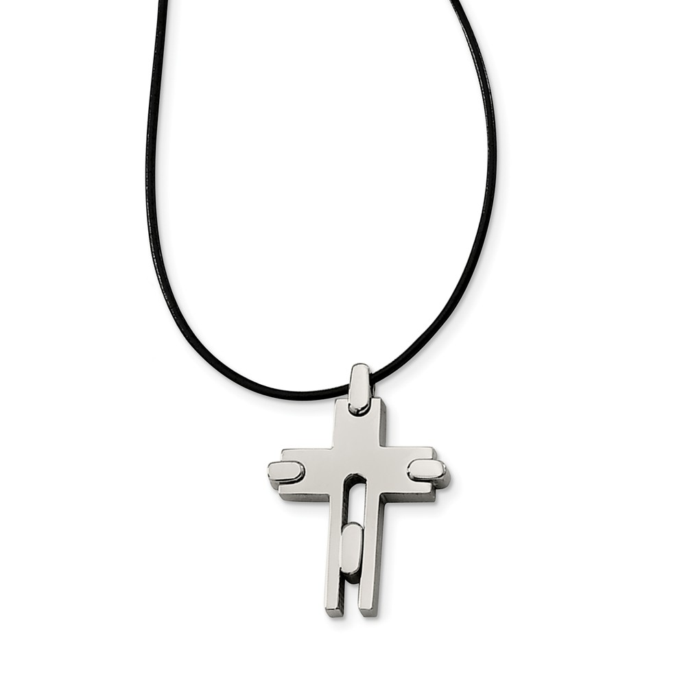 Titanium Cross and Black Leather Cord Necklace 18 Inch