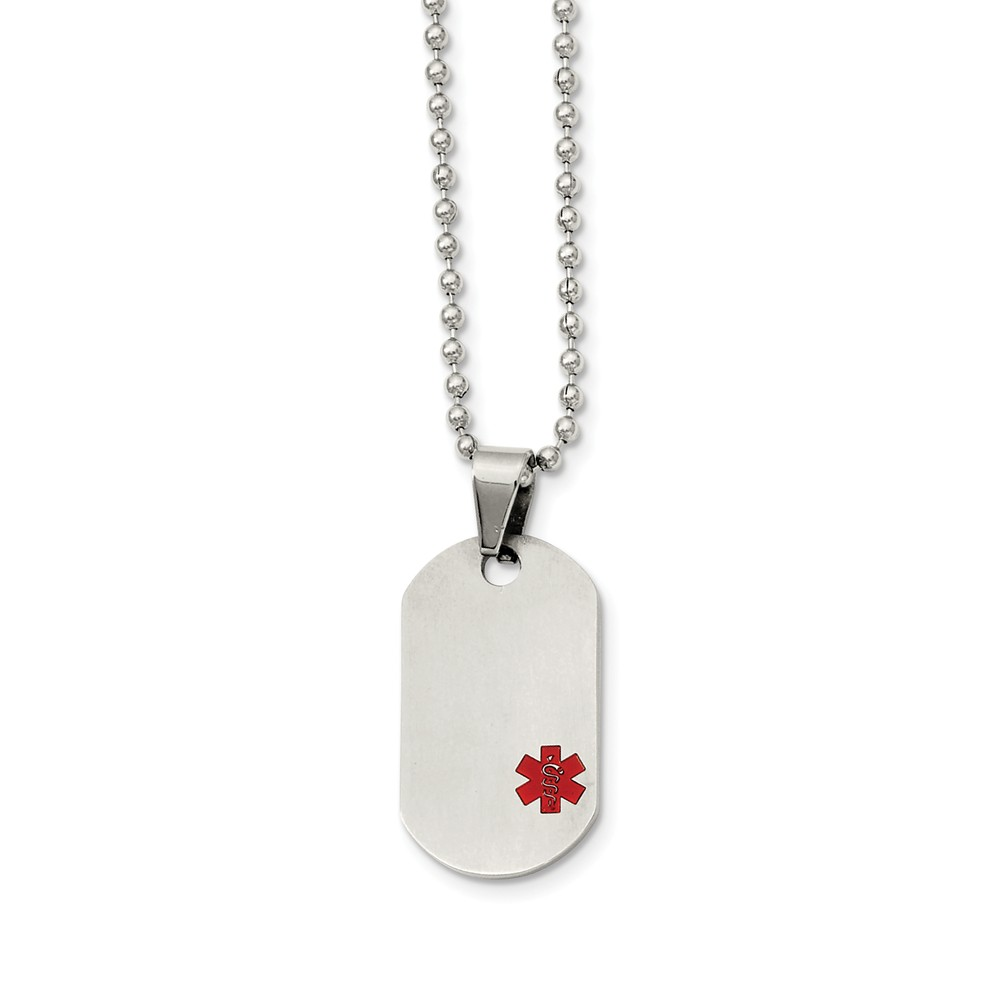 Titanium Medical Dog Tag on Stainless Steel Necklace 20 Inch