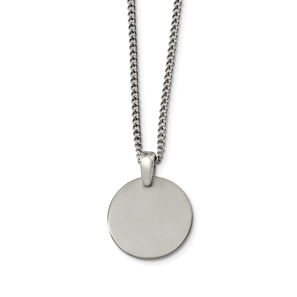 Titanium Brushed Disk Necklace 22 Inch