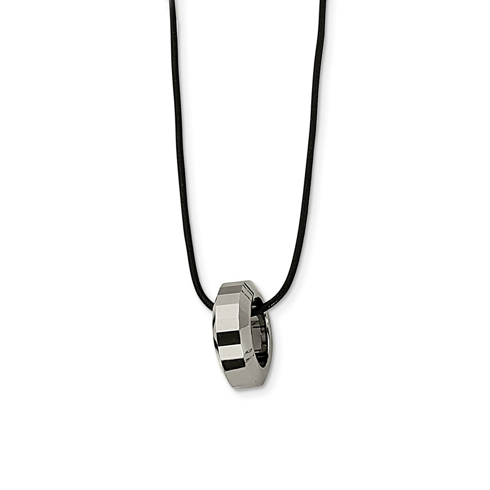 Tungsten Ring and Black Leather Cord Necklace 18 Inch