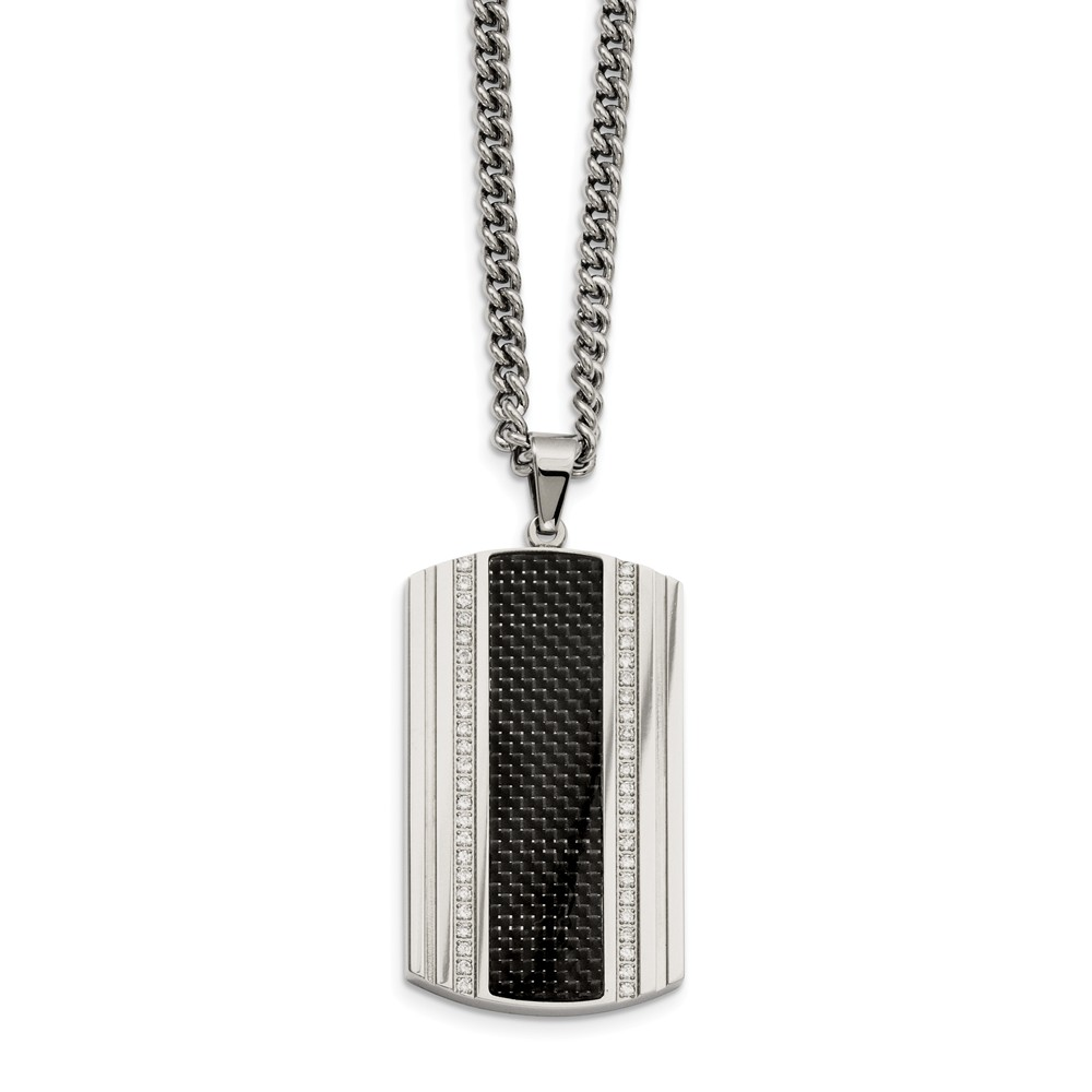 Stainless Steel Carbon Fiber and CZ Dog Tag Necklace 24 Inch