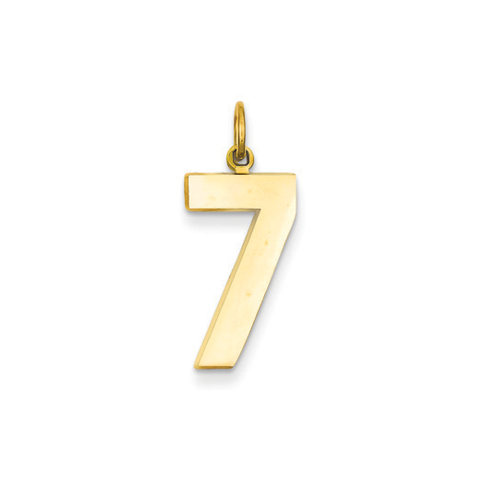 Large Polished Number 18 Pendant 14k Yellow Gold Athletic Collection