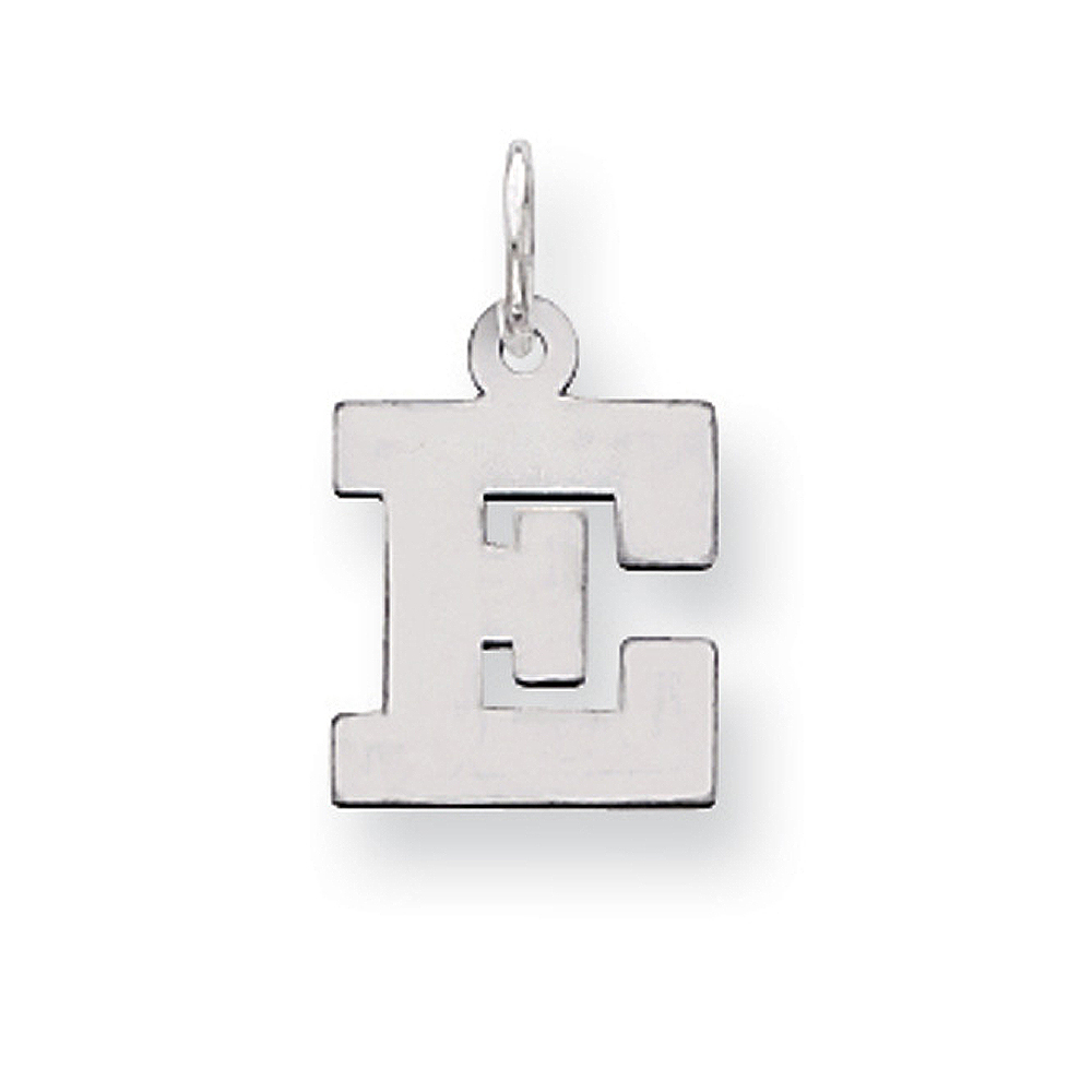 925 Sterling Silver Rhodium-plated Small Block Letter Initial V Charm