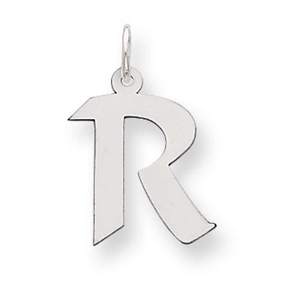 Sterling Silver Karlie Collection Artisan Block Initial Charm Letter R