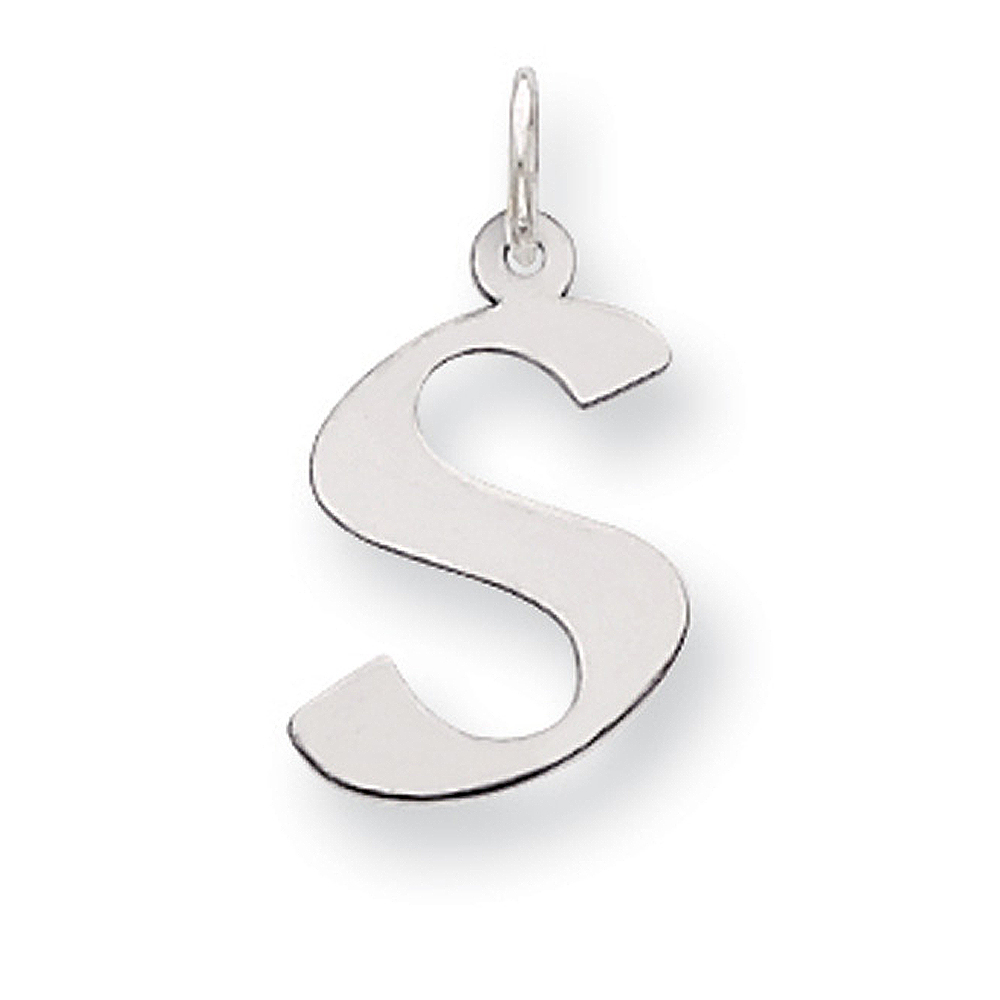Sterling Silver Karlie Collection Artisan Block Initial Charm Letter S