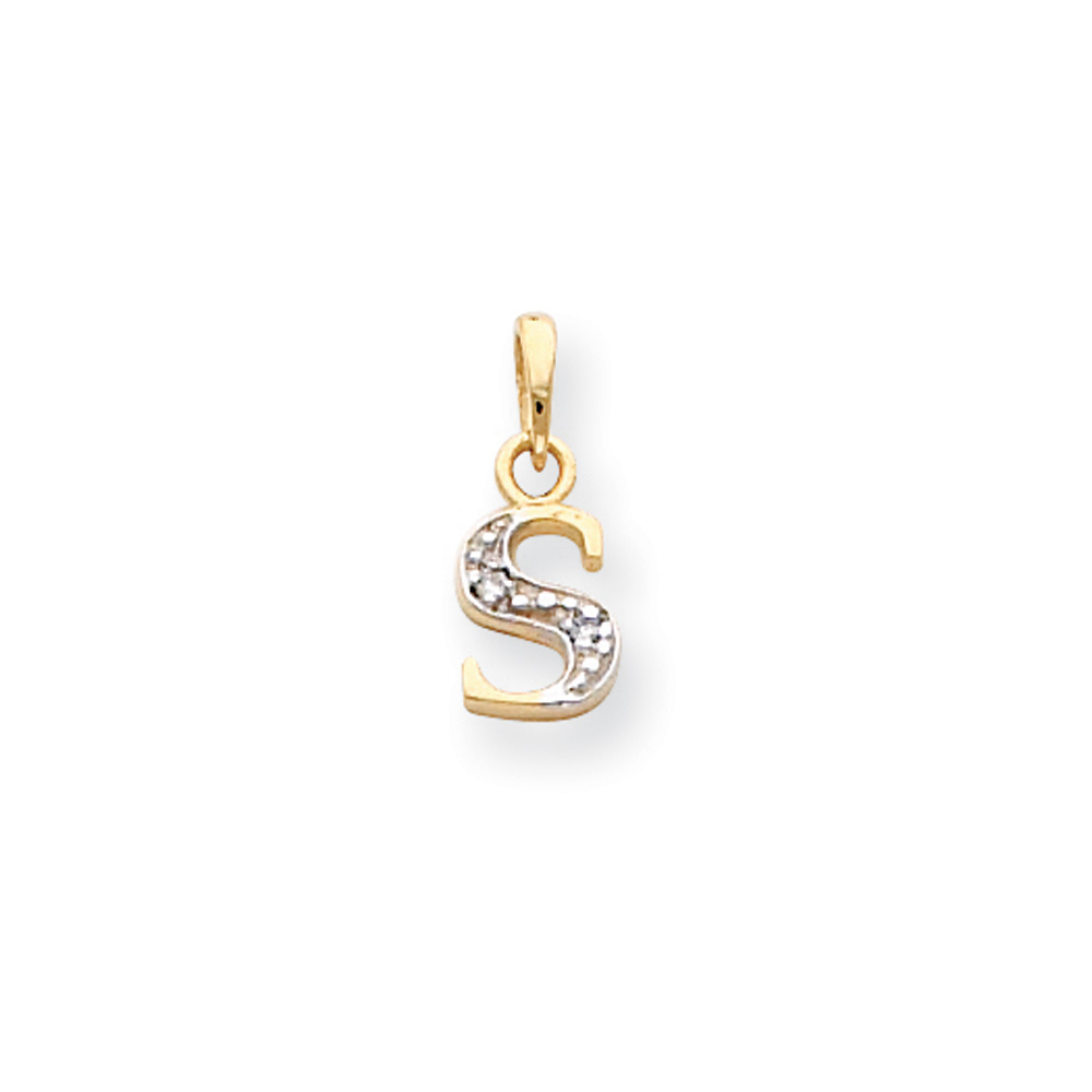 The Chloe Mini Diamond Accent Initial S Pendant In 14k Yellow Gold