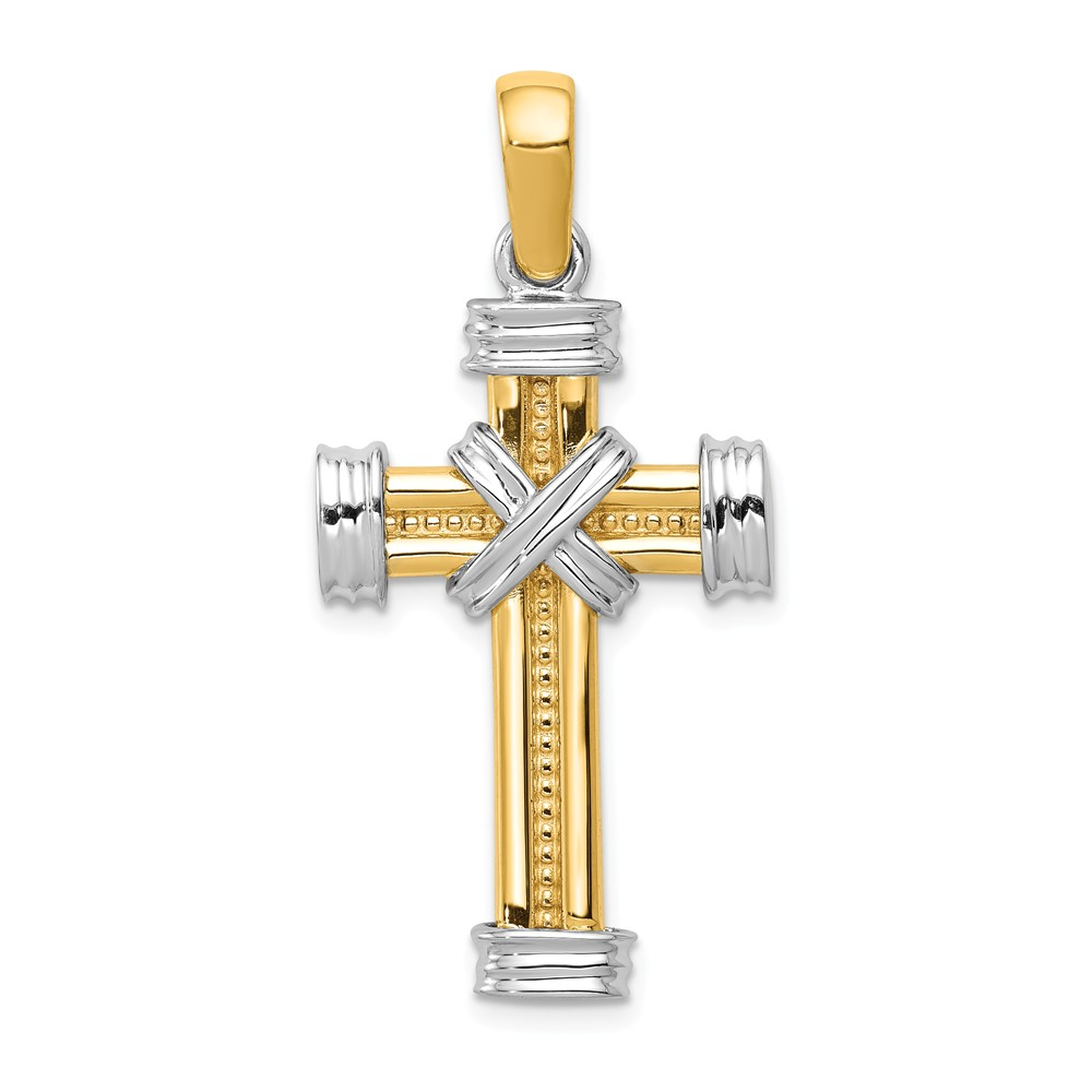 14k Yellow and White Gold Two Tone Rope Cross Pendant