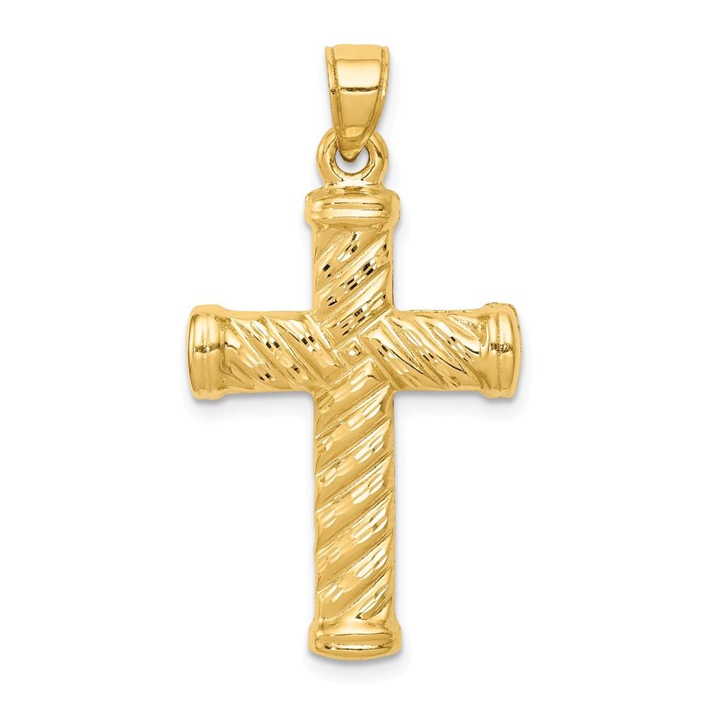 14k Yellow Gold Polished Reversible Rope Cross Pendant