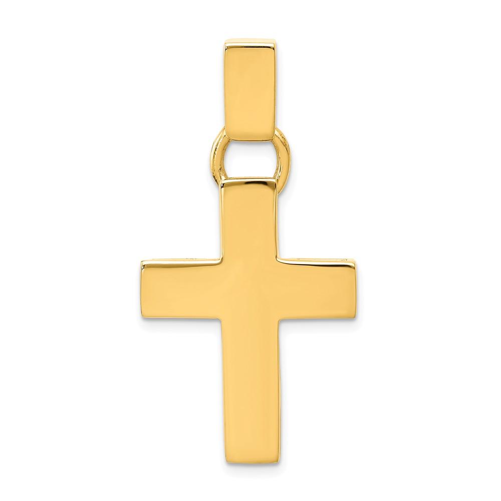 14k Yellow Gold Polished Hollow Latin Cross Pendant
