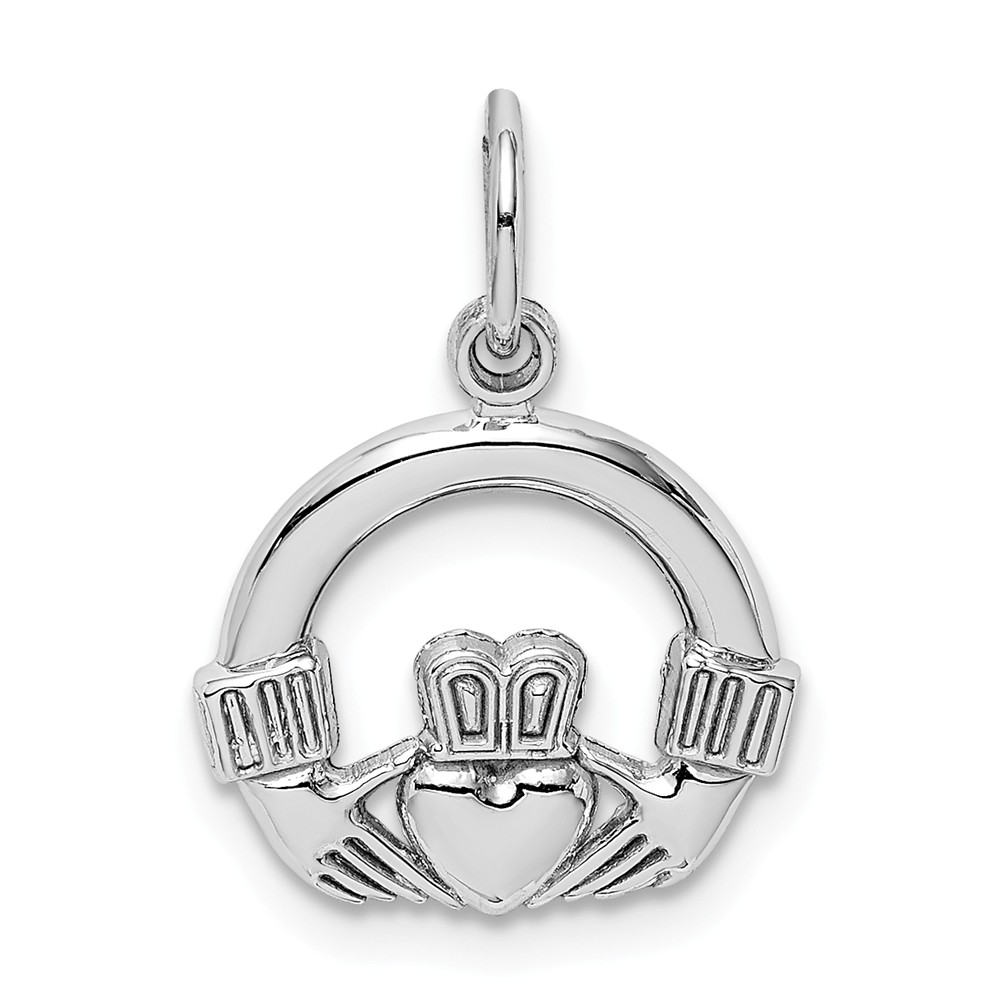 14k White Gold Claddagh Charm, 13mm