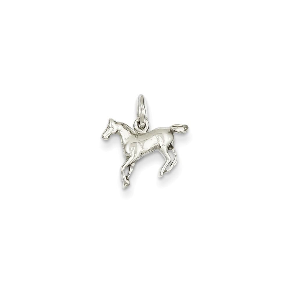 14k White Gold Mini Polished Horse Charm