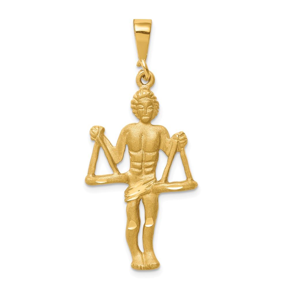 14k Yellow Gold Large Libra the Scale Zodiac Pendant