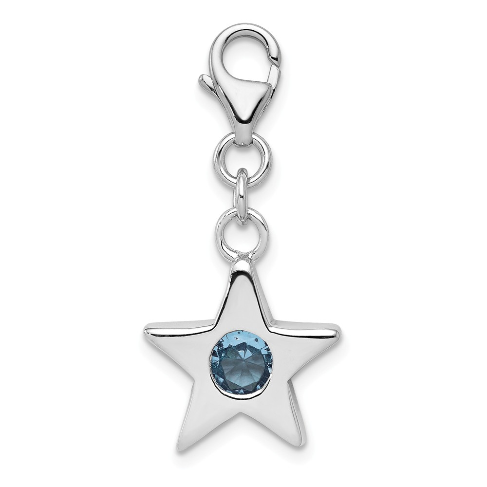 Birthstone | Sterling | Silver | March | Charm | Star