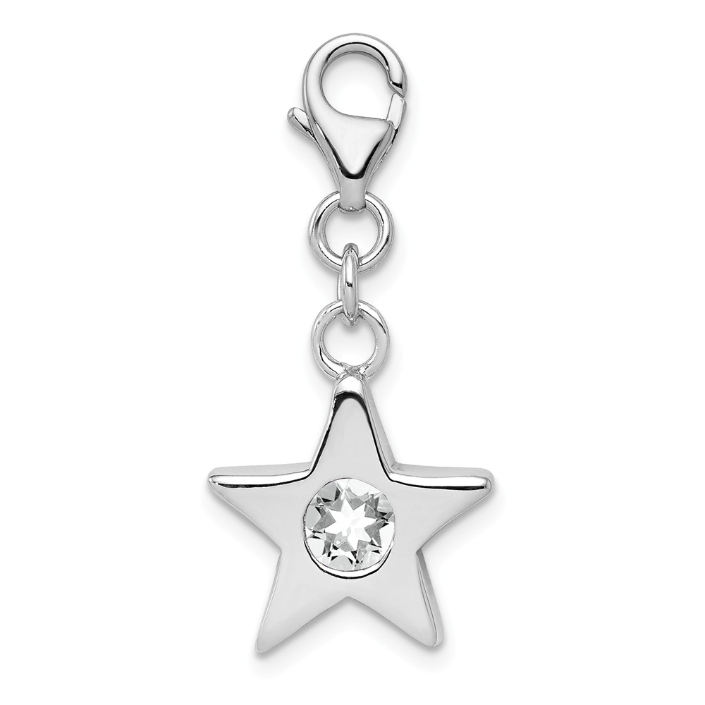 Sterling Silver April Cz Birthstone 13mm Star Clip-on Charm