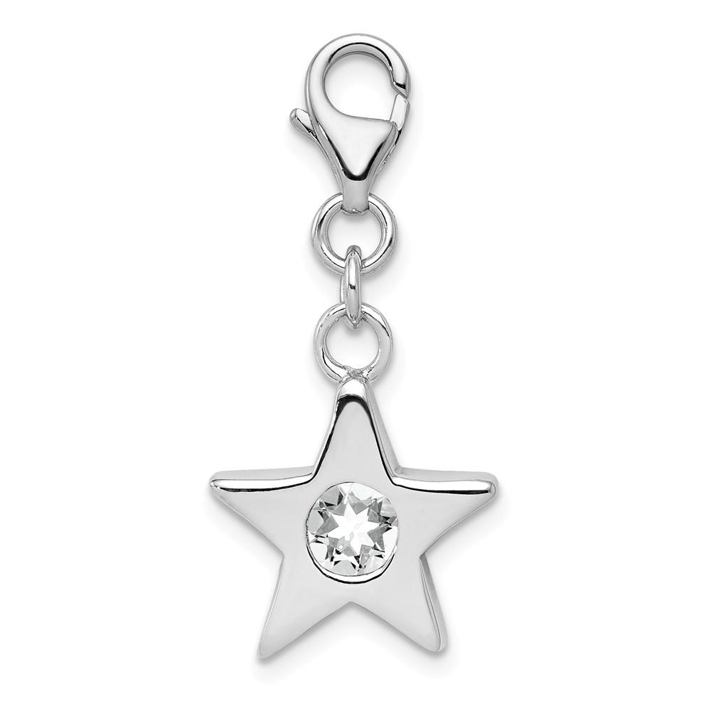 Birthstone | Sterling | Silver | April | Charm | Star