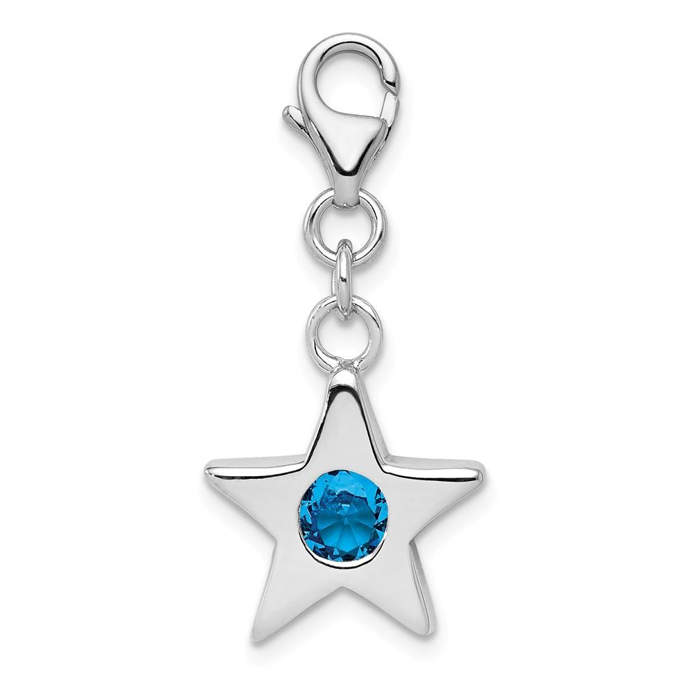 Birthstone | December | Sterling | Silver | Charm | Star