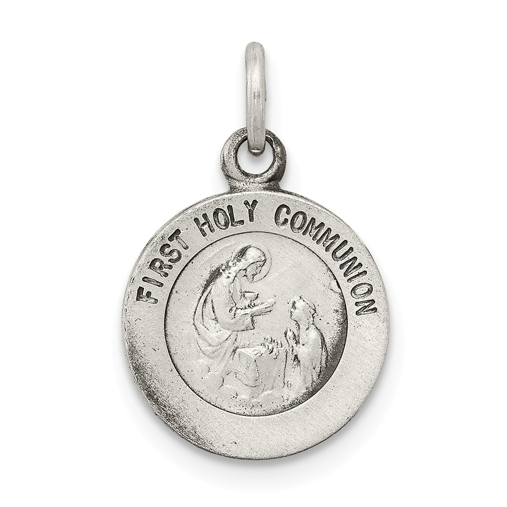 Sterling Silver Antiqued First Holy Communion Medal Charm, 11mm