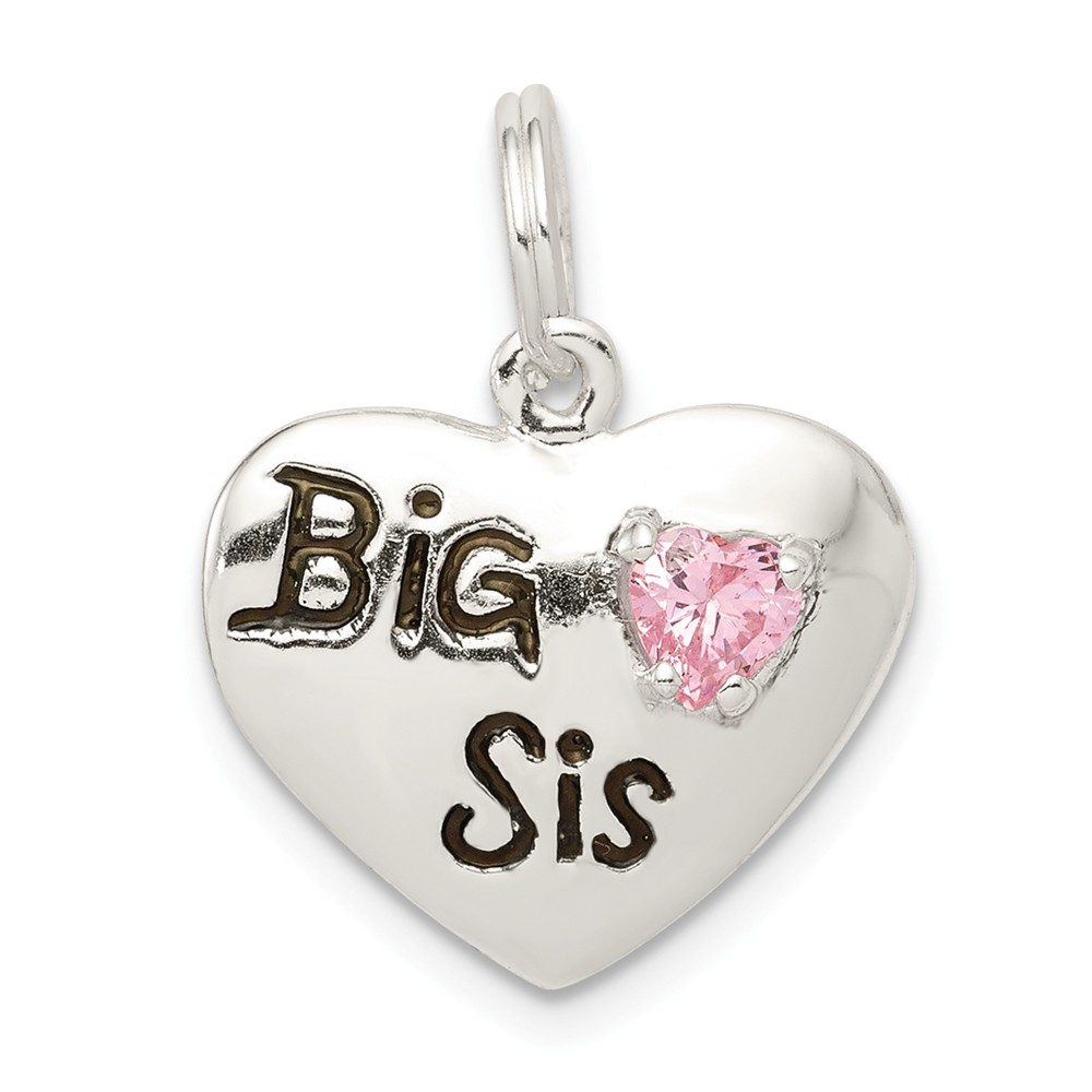 Sterling Silver, CZ and Enameled Big Sis Pink Heart Charm, 16mm