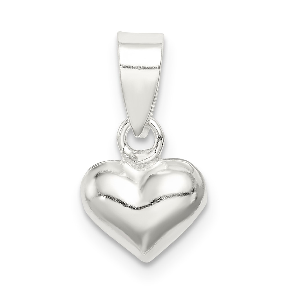 Sterling Silver 9mm Puffed Heart Pendant