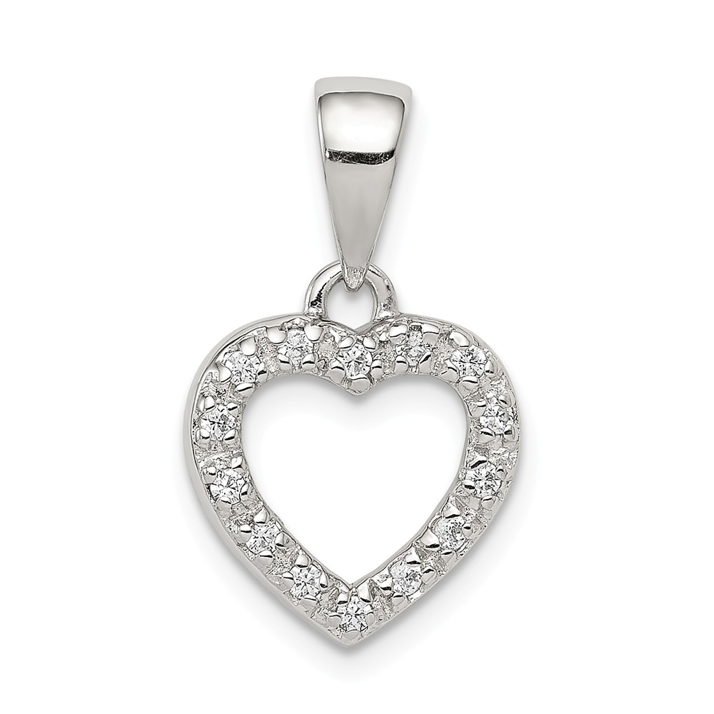 Sterling Silver and Cubic Zirconia Heart Shaped Pendant, 11mm