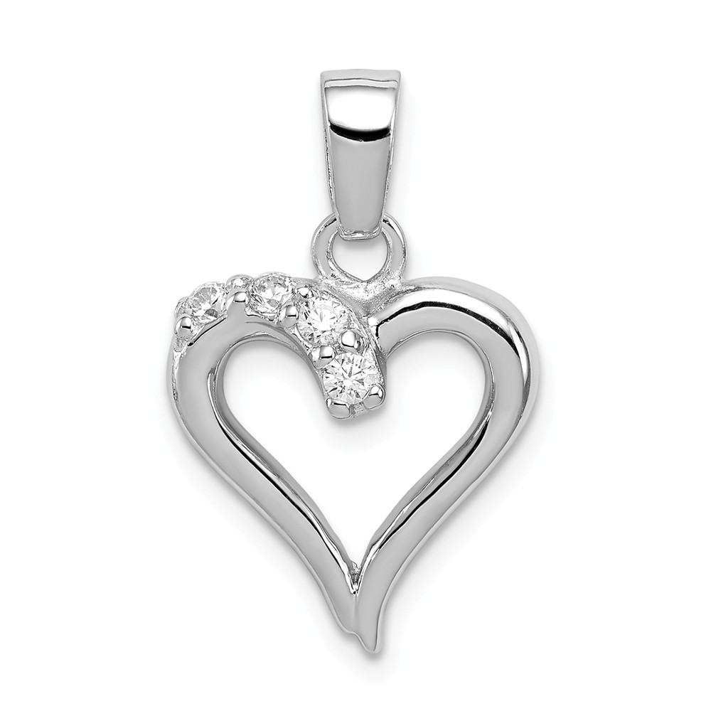 Sterling Silver and Cubic Zirconia 15mm Open Heart Pendant