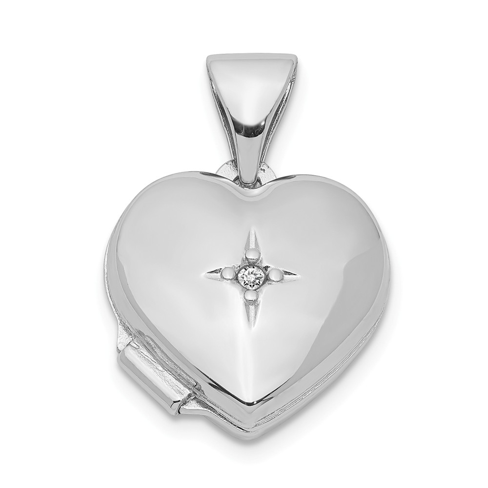 12mm Diamond Accent Heart Shaped Locket in Sterling Silver