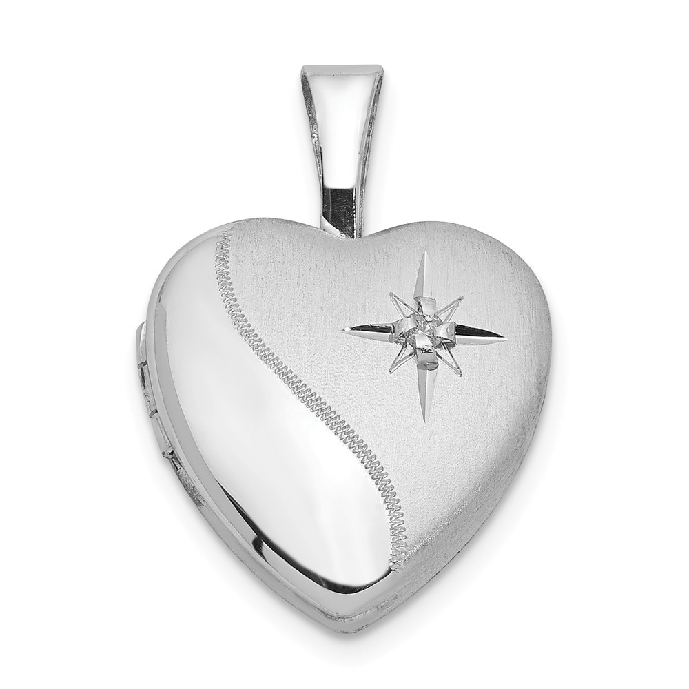 12mm Polished and Satin Diamond Heart Locket in Sterling Silver
