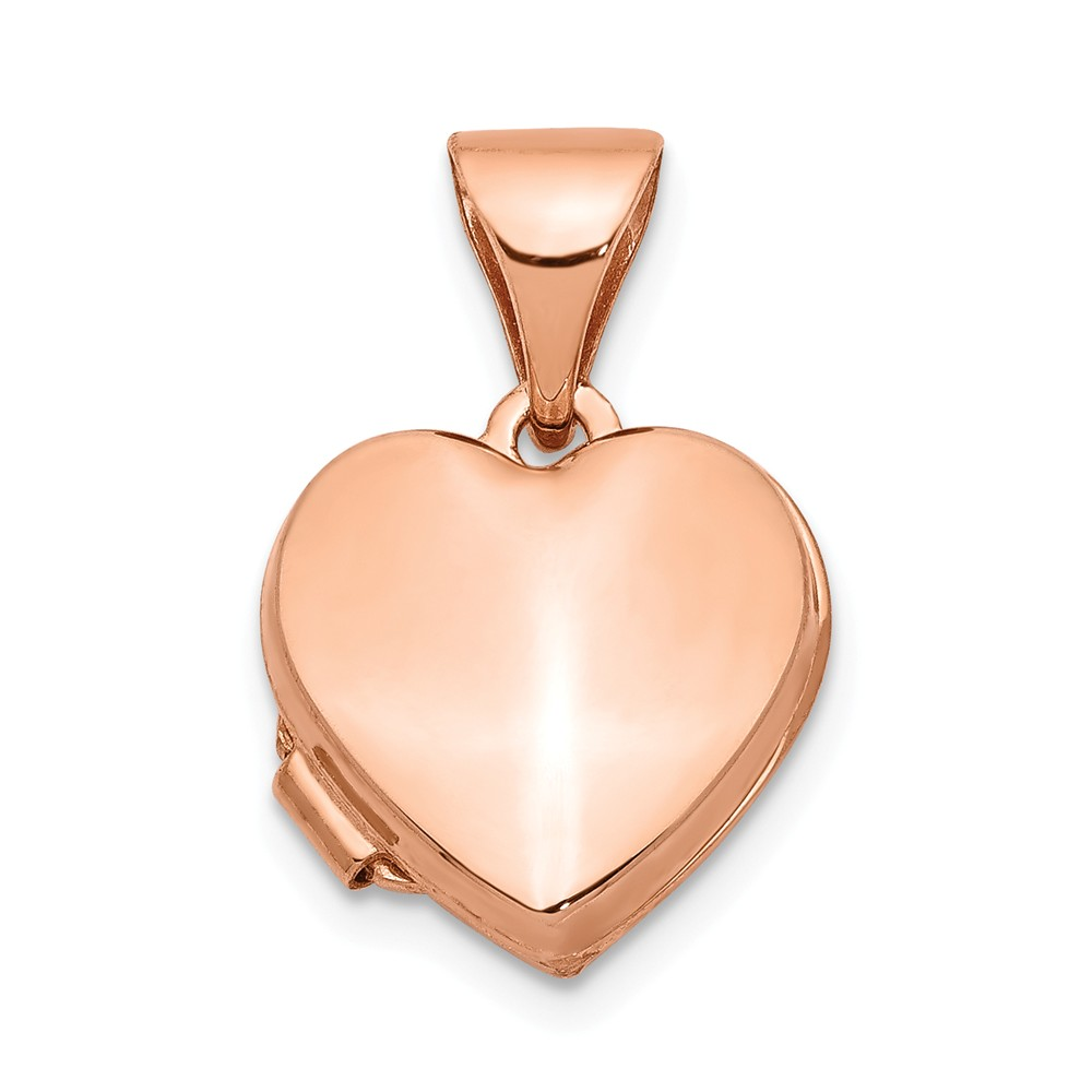 14k Rose Gold 10mm Polished Heart Shaped Locket