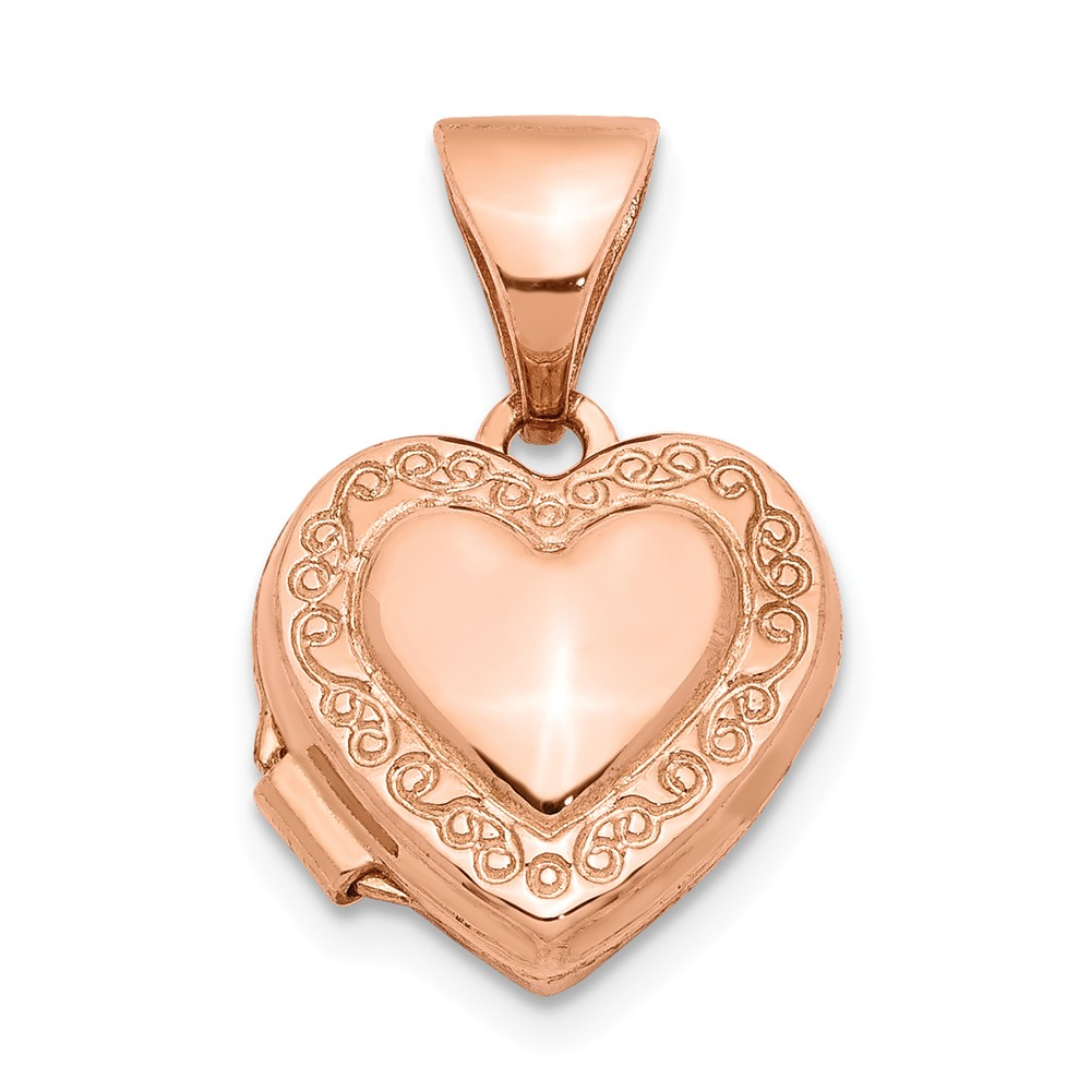 14k Rose Gold 10mm Scroll Heart Locket