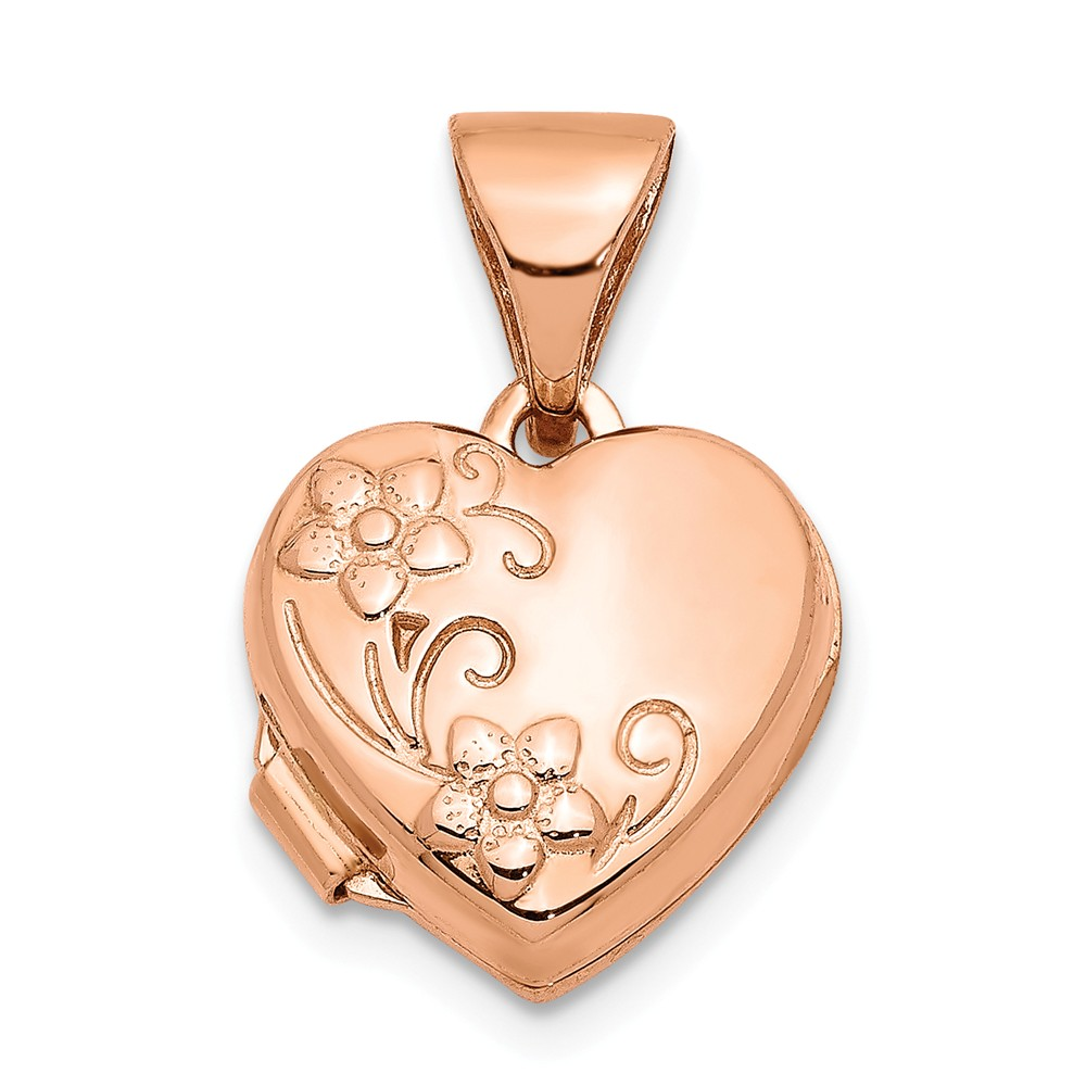 14k Rose Gold 10mm Textured Floral Heart Locket