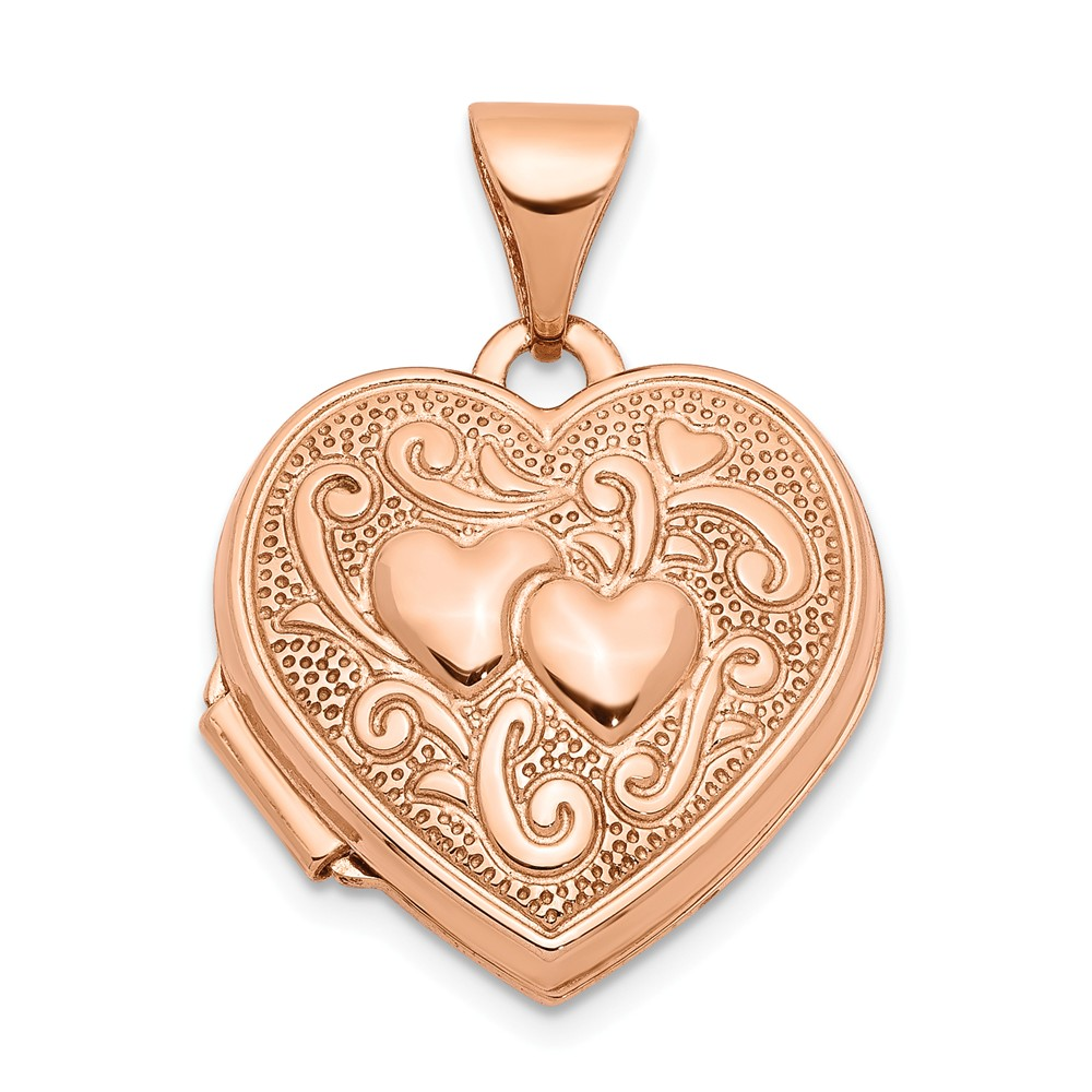 14k Rose Gold 15mm Double Design Heart Shaped Locket