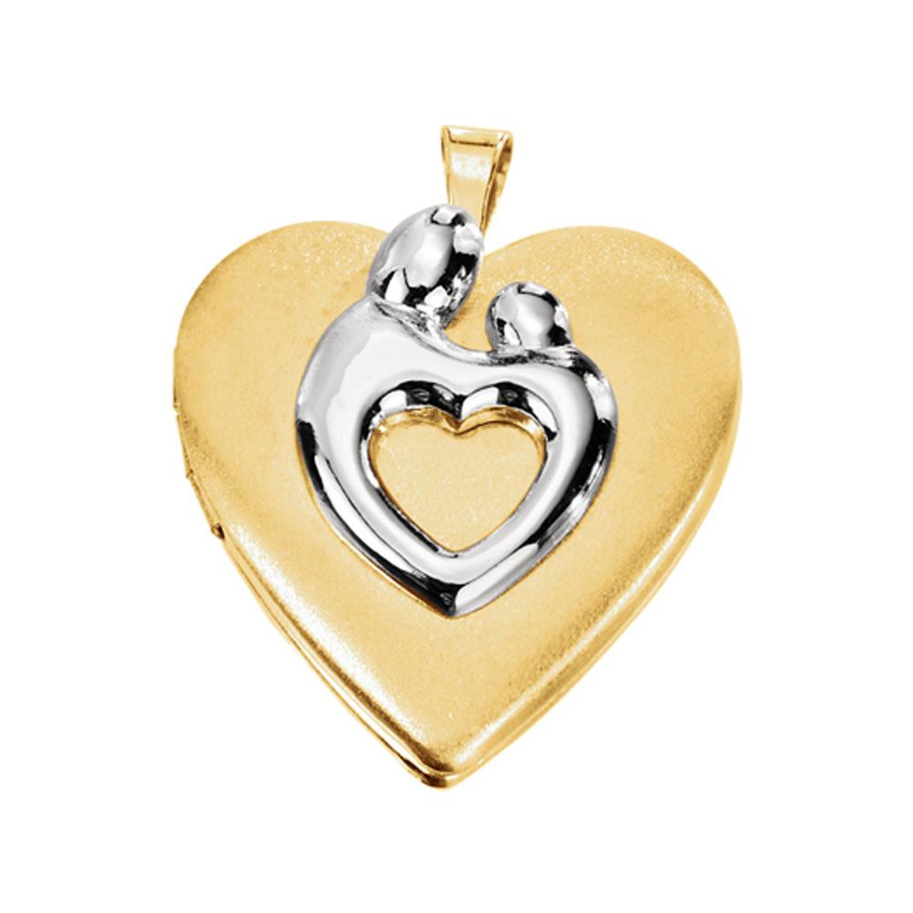 10k Gold Filled & Sterling Silver 21mm Heart Mother & Child Locket