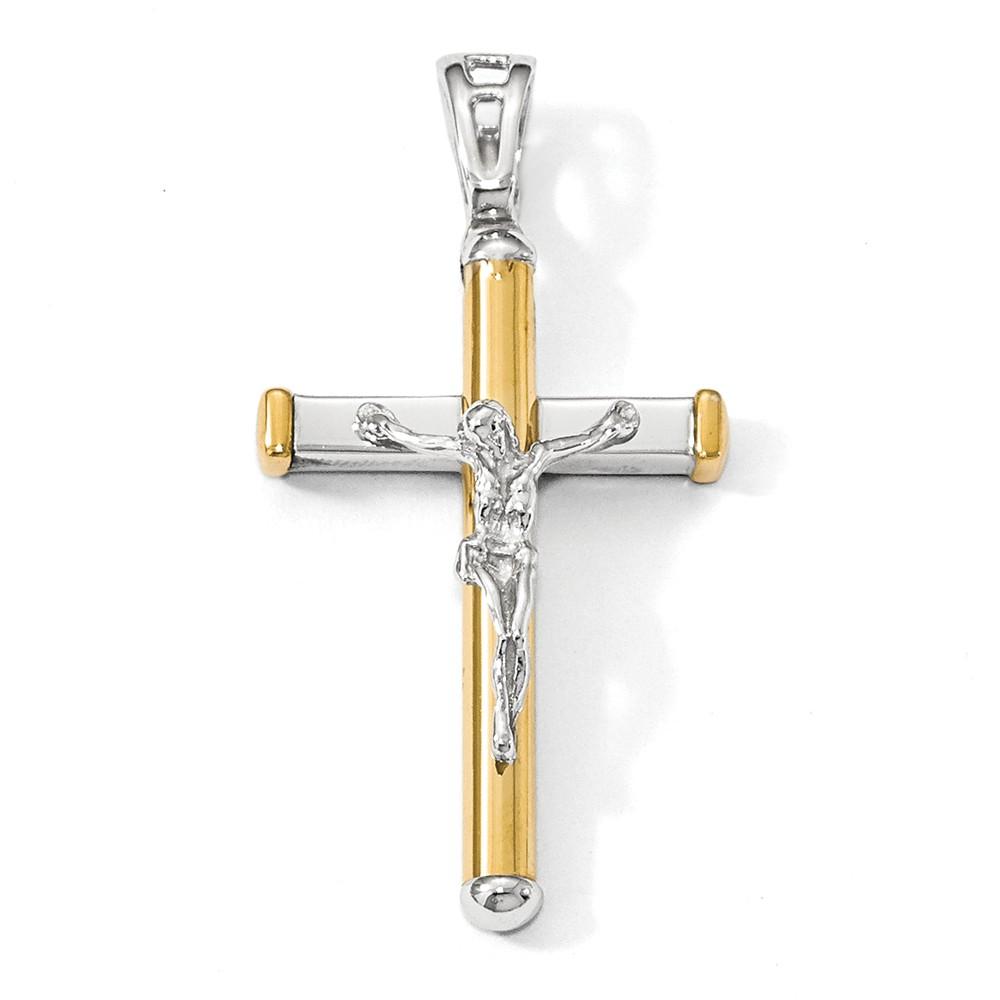 14k Two Tone Gold, Polished Crucifix Pendant, 21 x 40mm