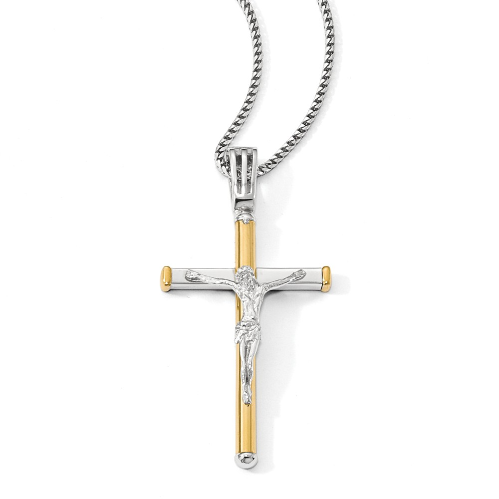 14k Two Tone Gold, Polished Crucifix Pendant, 25 x 50mm