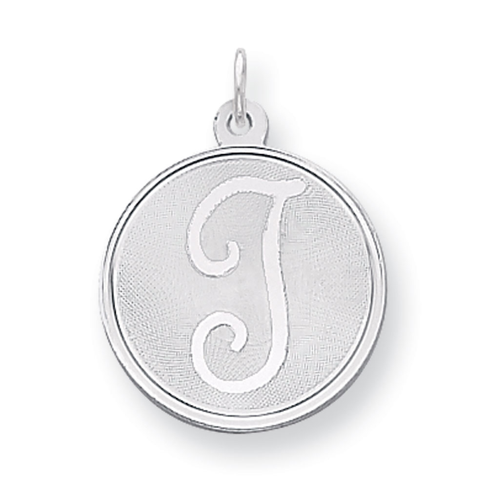 Sterling Silver, Makayla Collection, 20mm Disc Initial T Pendant