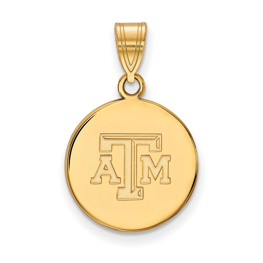 Ncaa 10k Yellow Gold Texas A&m U. Medium Disc Pendant