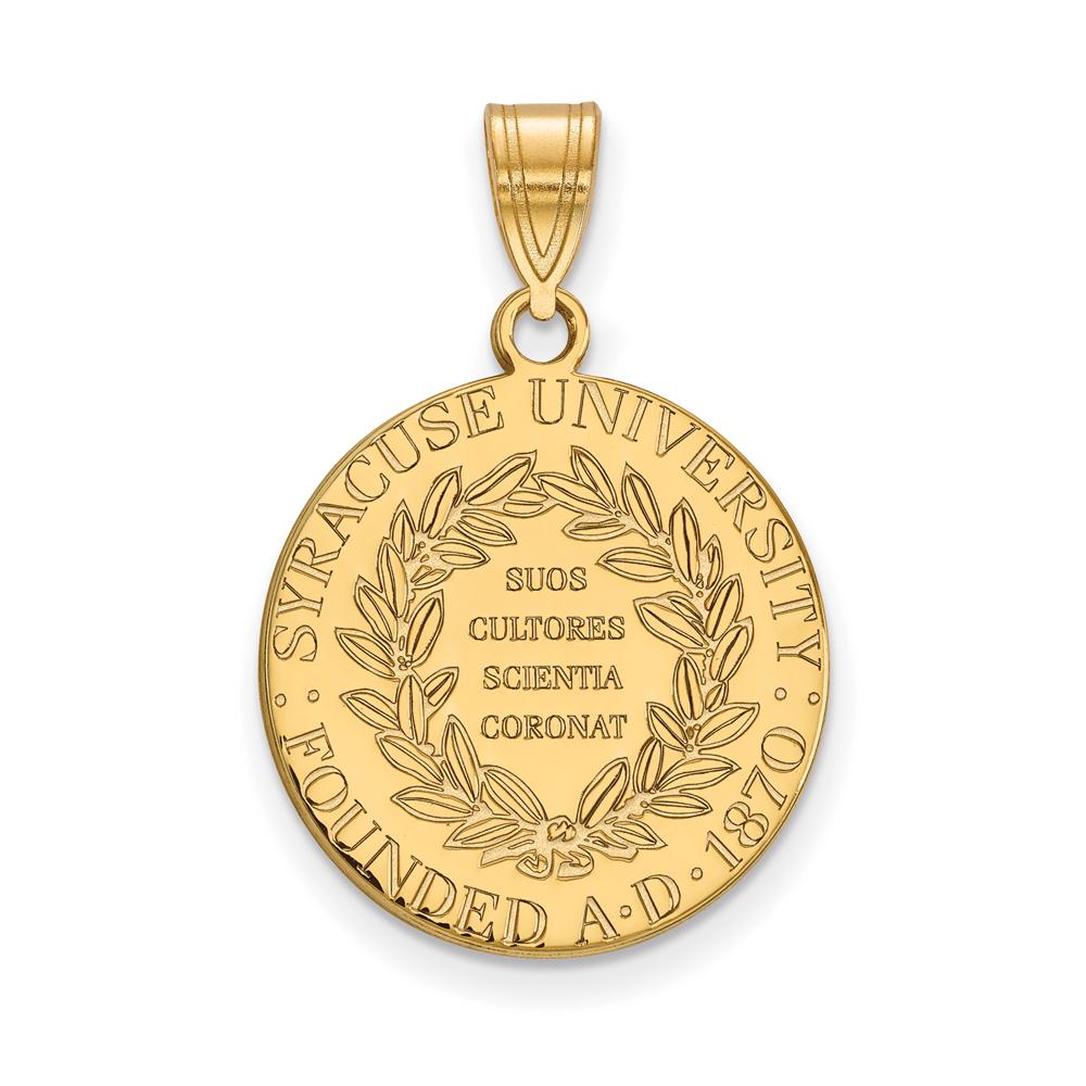 Ncaa 14k Gold Plated Silver Syracuse U. Large Crest Pendant