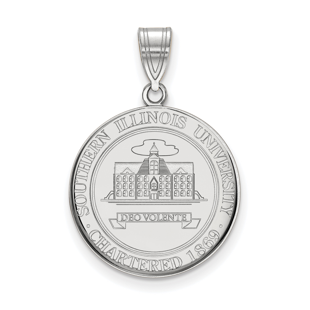 Ncaa Sterling Silver Southern Illinois U. Large Crest Pendant