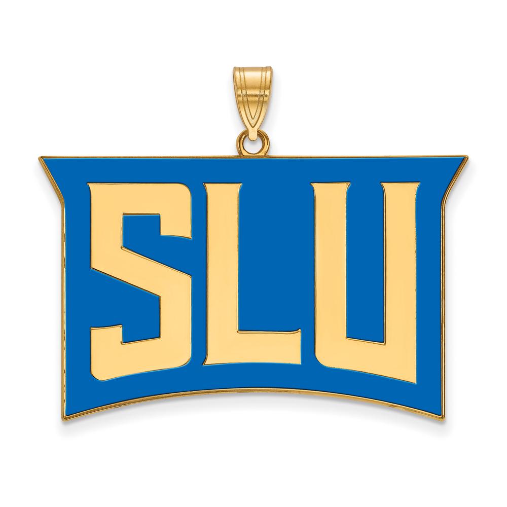 Ncaa 14k Gold Plated Silver St. Louis U. Xl Enamel Pendant